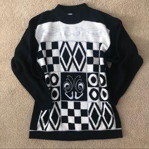 Vintage 80's Betty Barclay Angora Graphic Sweater